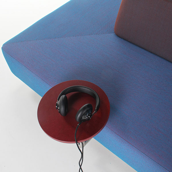 Plain museum sofa with headphones