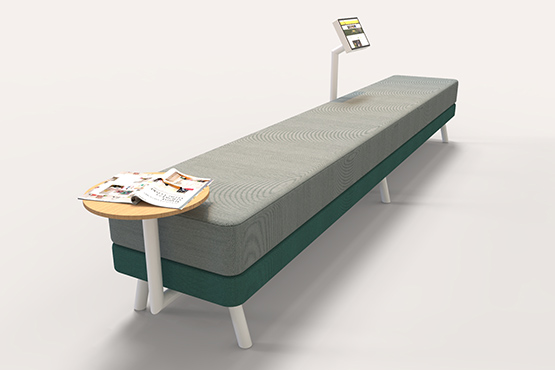 Long sofa for public spaces commercial furniture design