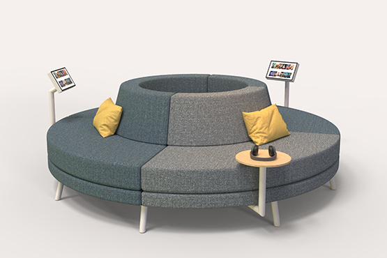 Round commercial sofa